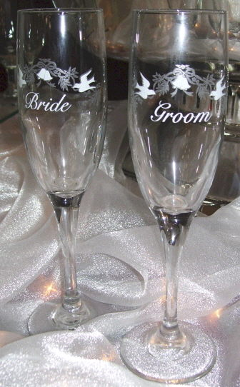 Where to find GLASS, FLUTE BRIDE GROOM SET in White Oak